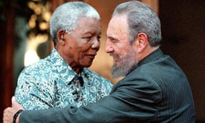 Fidel Castro and Nelson Mandela during a visit to Mandela's home in Houghton, Johannesburg in 2001.