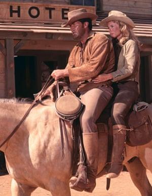 Bibi Andersson with James Garner in the western Duel at Diablo, 1966.