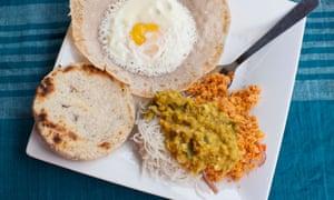 Traditional Sri Lankan breakfast, Egg Hopper, Dal, Coconut Sambul, Roti, String Hoppers