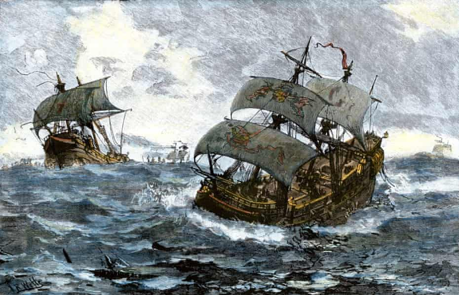 Painting showing the retreat of the Spanish Armada from England in stormy seas, 1588.
