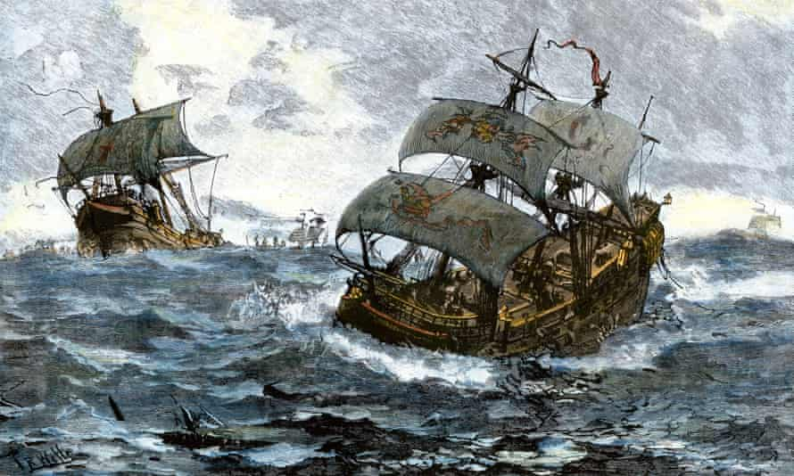 The retreat of the Spanish Armada in 1588.