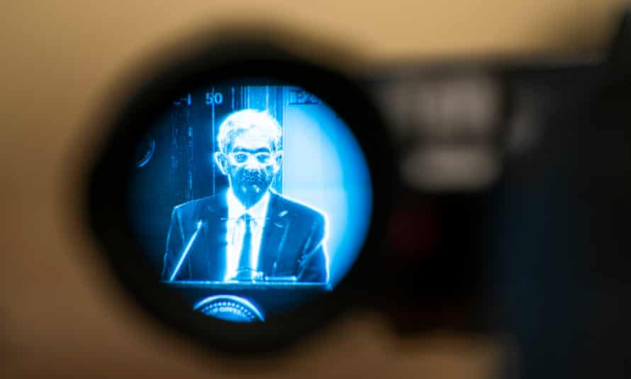 Jerome Powell seen through a camera viewfinder at a Federal Reserve event last month.