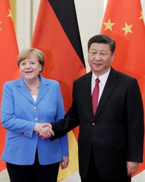 Xi Jinping meets Angela Merkel in Beijing in 2018.