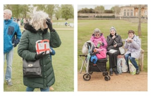 A woman holds a St George's cross lunchbox, and three visitors take a lunch break
