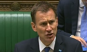 The health secretary, Jeremy Hunt, makes a statement to MPs in the House of Commons