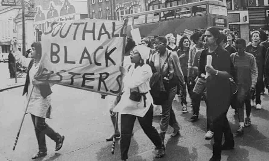 Minorities came together to fight racism: Southall Black Sisters marching in the 1980s.