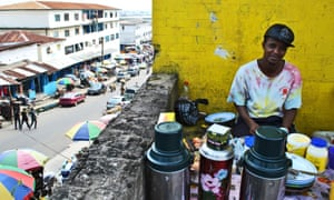 A coffee seller in downtown Monrovia.