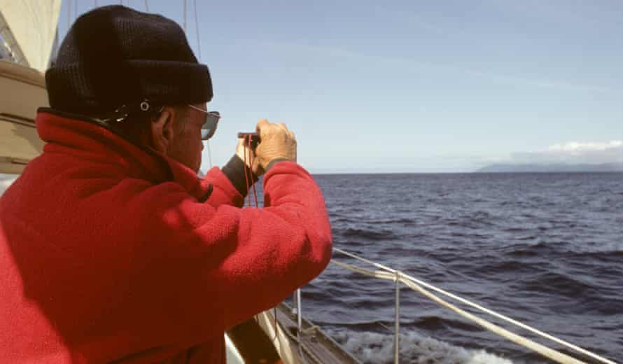 Captain Roger Swanson navigates, without the benefit of satellite navigation.