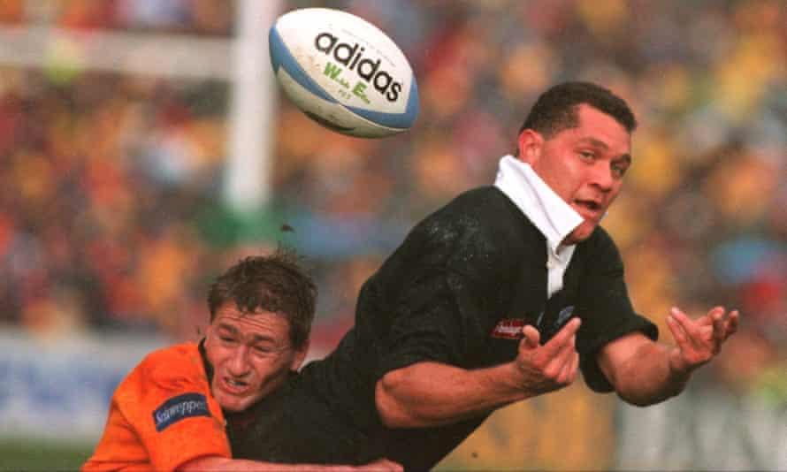 Merrick tackles New Zealand's Walter Little at Eden Park on 22 July, 1995.