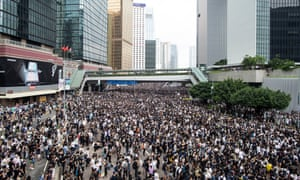 Thousands of protesters occupied the roads near the Legislative Council Complex in Hong Kong on Wednesday.