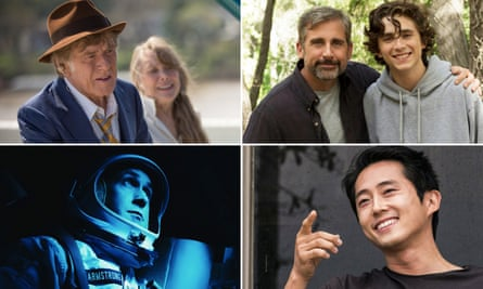 Robert Redford in The Old Man and the Gun, Steve Carell and Timothée Chalamet in Beautiful Boy, Steven Yeun in Burning