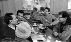 The Beats (left to right): painter and musician Larry Rivers, writer Jack Kerouac, poet Gregory Corso (back of head to camera), musician David Amram and poet Allen Ginsburg (1926 - 1997) in New York, late 1950s.