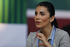 Mexican squad nutritionist Beatriz Boullosa speaks during an interview in Moscow.