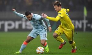 Eden Hazard, making his first start for three weeks, evades BATE's Dmitri Baga.