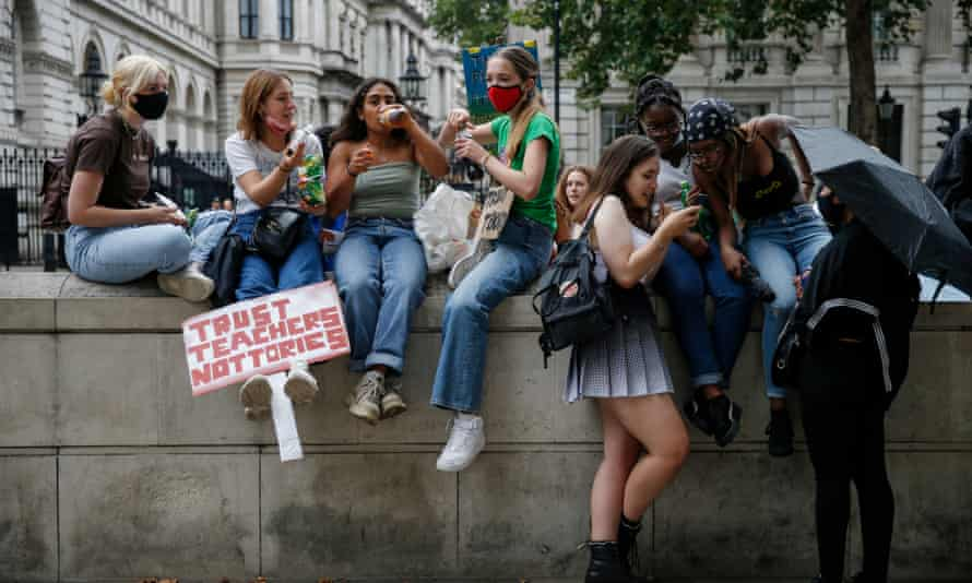 Students at an A-Level results protest opposite Downing Street on 16 August.