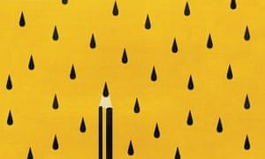 pencil in rain drops