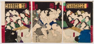 An artwork from 1753 depicting sumo wrestlers and spectators