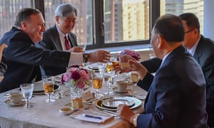 Mike Pompeo toasts a working dinner with North Korea's Kim Yong Chol, second from right, in New York.