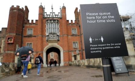 Coronavirus safety measures at Hampton Court Palace in London.
