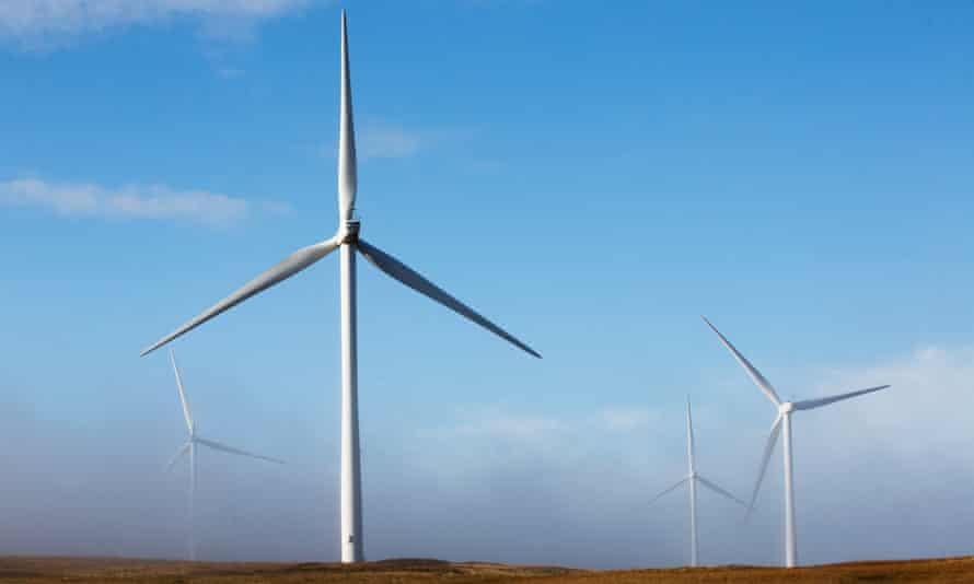 Wind turbines in Lanarkshire, Scotland.