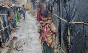 Rohingya children who fled Myanmar into Bangladesh at Balukhali refugee camp, Cox's Bazar