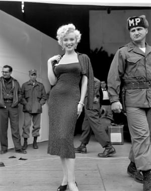Marilyn Monroe visits troops in Korea during a USO tour, 1954