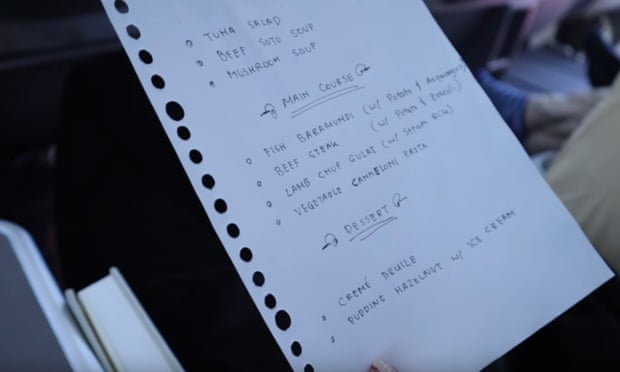 Menú de Garuda escrito a mano