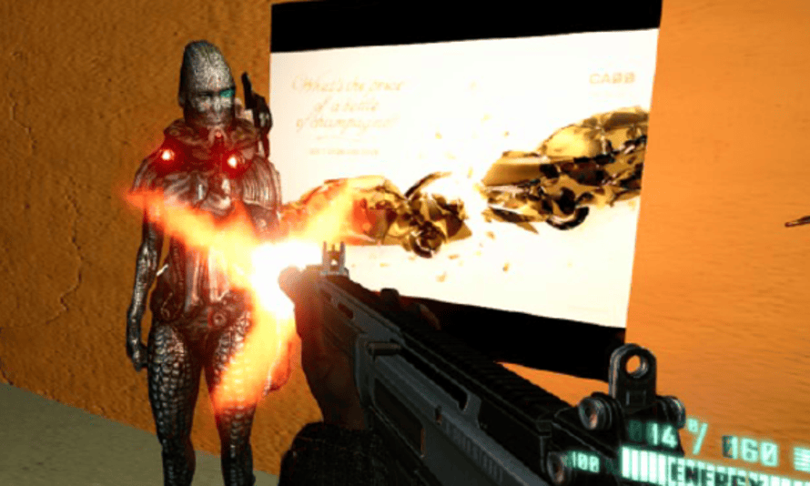 Screenshot of DUI poster embedded in first-person shooter game.