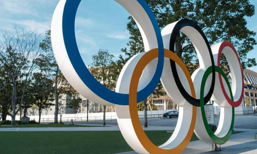Olympic rings near the National Stadium in Tokyo