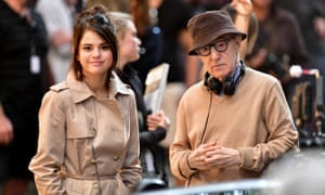 Director Woody Allen with Rainy Day in New York star Selena Gomez on location in 2017.