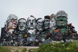 Mount Recyclemore, a sculpture of G7 leaders made from discarded electronics components, on a clifftop near Carbis Bay