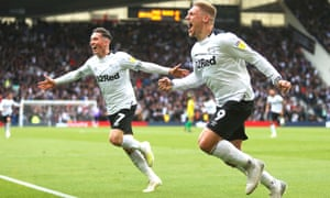 Harry Wilson (left) scored Derby's third goal from the spot after Martyn Waghorn (right) had opened the scoring.