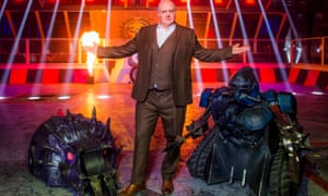Heavy metal: Dara O'Briain and two robots.
