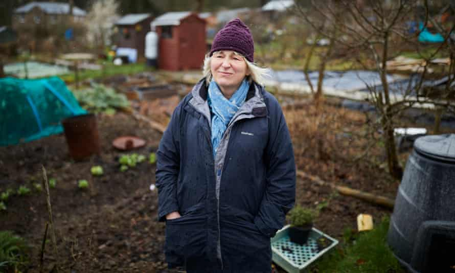 Sally Goldsmith on her allotment in Totley, Sheffield.