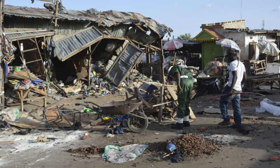 The site of a Boko Haram suicide bomb attack at a market in Maiduguri. The group is trying to create an Islamic state in the north of the country.
