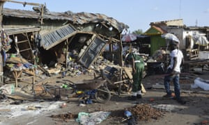 The site of a suspected Boko Haram suicide bomb attack at a market in Maiduguri in June.
