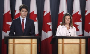 Prime Minister Justin Trudeau and Foreign Affairs Minister Chrystia Freeland speaking at a press conference in Ottawa on 31 May.