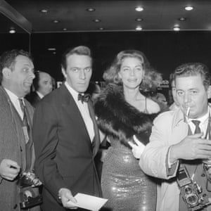 Christopher Plummer and Lauren Bacall arrive at the premiere of Spartacus at the DeMille Theatre in New York on 6 October 1960