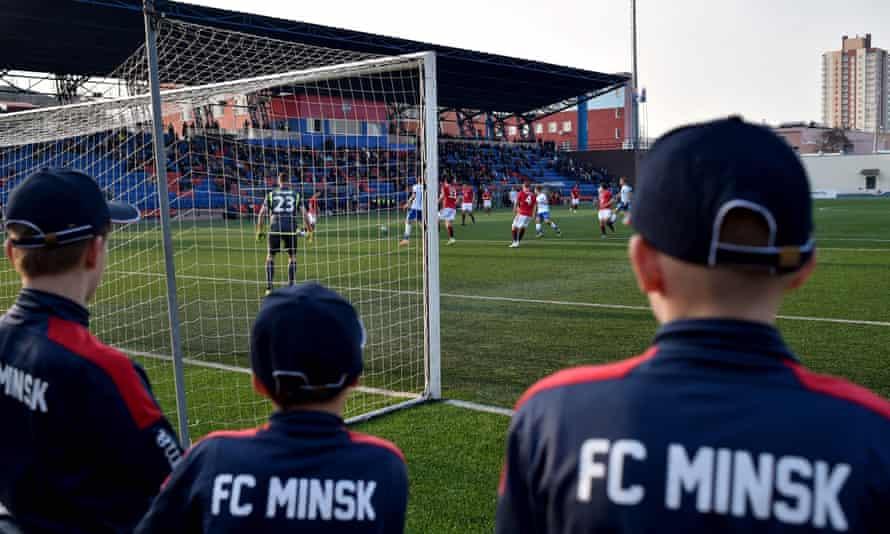FC Minsk ballboys watch on as the Belarus Premier League continues, despite the coronavirus outbreak.