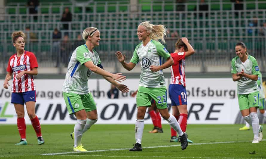 Pernille Harder, No 22, celebrates after scoring for Wolfsburg against Atlético Madrid in the Champions League this season.