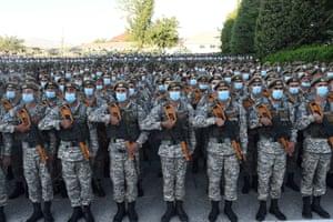 Dushanbe, Tajikistan Tajik soldiers line up during a military parade