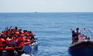 Migrant Offshore Aid Station (Moas) boat comes to the aid of refugees