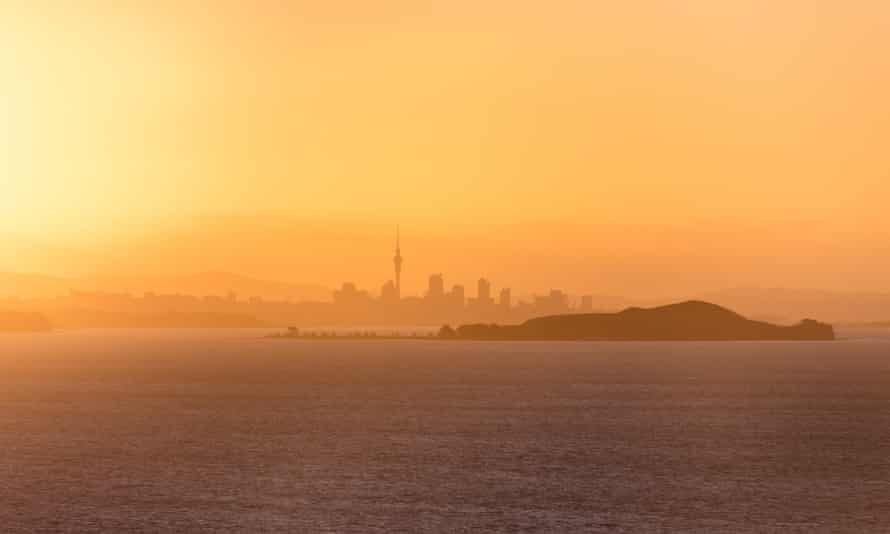 Waiheke View of Auckland CityView of Auckland skyline from Waiheke Island as the sun sets.