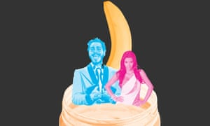Composite of Post Malone and Kim Kardashian in a jar of peanut butter and a banana