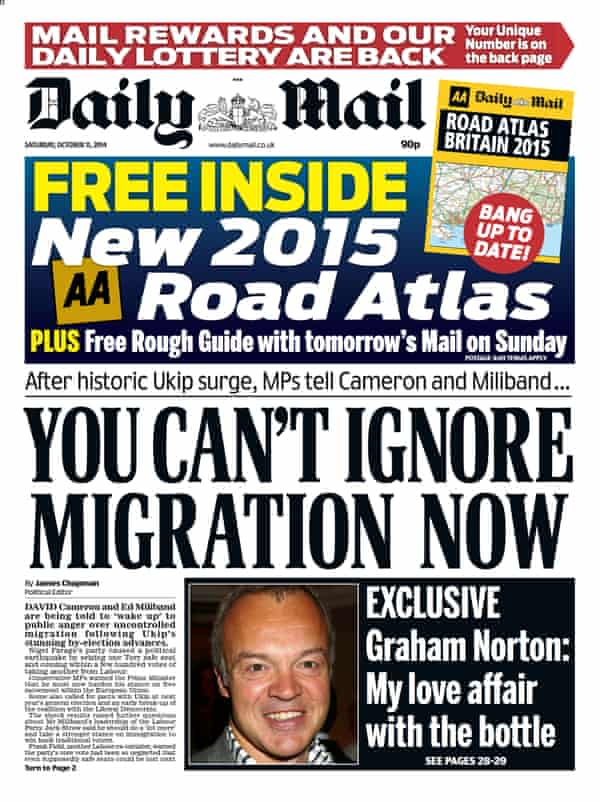 A Daily Mail front page on migration.