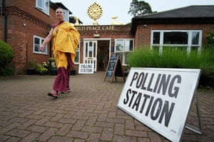 Spiritual enlightenment Ordained Buddhist Nun Kalsang Rigma after voting at 7 am when the EU Referendum Polling Station opened today at Kelmarsh Nagarjuna Buddhist Centre in Northamptonshire