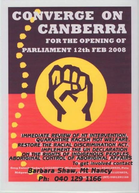 A poster for the Converge on Canberra rally for Indigenous rights.