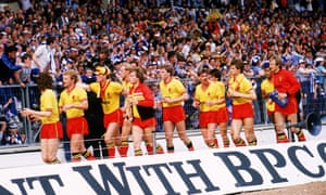 Watford embark on a lap of honour after the defeat in the 1984 FA Cup final.
