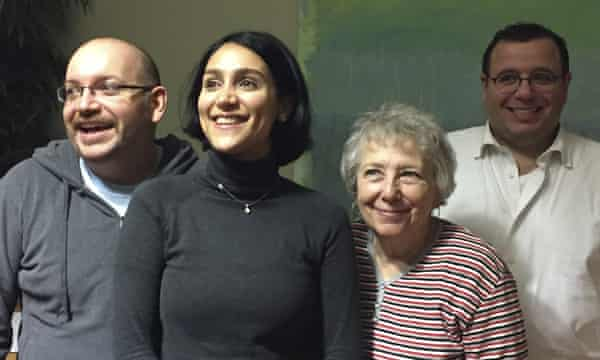 Jason Rezaian (far left) with his wife Yeganeh Salehi, mother Mary and brother Ali, just after his release, Germany, 2016.