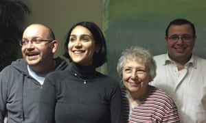 Jason Rezaian, left, is pictured with his wife Yeganeh Salehi, mother Mary Rezaian and brother Ali Rezaian in Germany.